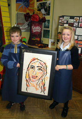 In the Art and Design Room were pupil Ellie Cockburn with Niall Cockfield from Downpatrick Primary School.