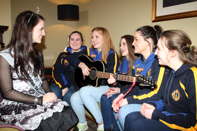 Rose of Trallee 2013 Hayley O'Sullivan chats to the Saul Ballad Singers at the Slieve Donard Resort and Spa. The Sc—r champions from the right are: Taylor Murnin, Aisling Murphy, Katelin Denvir, Claire Curran and Aoife McKibbin.