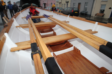 In pristine condition: an interior view of the St Ayle's skiff that visited from Troon.