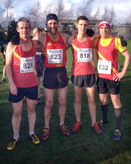 EDAC runners in the International X/C at Greenmount. (L to R) Liam Keenan, Phillip Vint, Barrie Atkinson and Francis Tumelty after the Masters Race.