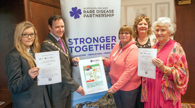 Mayor of Ards, Councillor Stephen McIlveen pictured with Jenna Cupples, Daryl Cupples, Christine Collins and Doris Mason, encouraging support for the Northern Ireland Rare Disease Partnership.