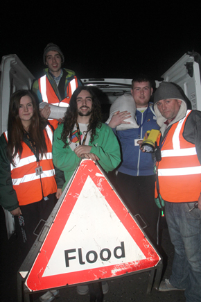 Caolan Mulhall, Rebecca Smyth, William Mulhall, John Moore and Gerard Forward ready tor a night on duty as Ardglass is threated by a tidal rurge.