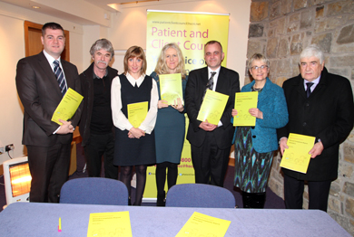 At the Patient and Client Council meeting held in the St Patrick Centre in Downpatrick were Councillors Colin McGrath and Eamonn Mac Con Midhe, Farina Thompson, Down District  CAB,  Maeve Hully, PCC Chief Executive, Richard Dixon, PCC Complaints Services Manager, South Down MP Margaret Ritchie and Councillor Dermot Curran.