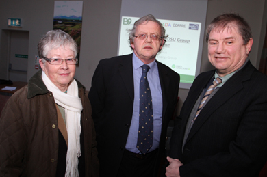 Ardglass Dievelopment Association members Mary McCargo, chairperson, and Jeremy Bryce, with Councilllor Cadogan Enright pictured at the Lecale DSU conference in Ardglass Golf Club.