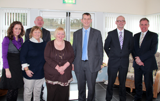 Aoife Cunningham (Specialist Occupational Therapist),  Joe O'Neill (Community Mental Health Services Manager), Rosie Shannon (Mental Health Staff Nurse),  Ann Hanna (Manager), Edwin Poots (Health Minister), Brendan Whittle (Director Adult Services) & Don Bradley (Asst. Director Mental Health)