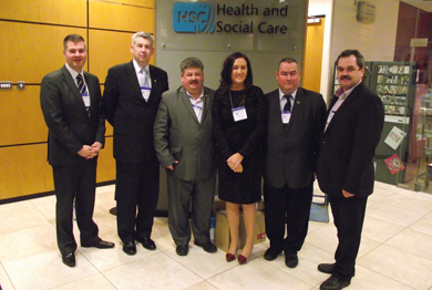The Down District Council delegation who met with the Health and Social Care Board. From left, Clouncillors Colin McGrath, Walter Lyons, William Walker, Maria McCarthy, Terry Andrews and Liam Johnston.