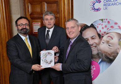 South Dowm MLA JohnMcCallister, right with Jim Wells MLA backing  Cancer Research NI.