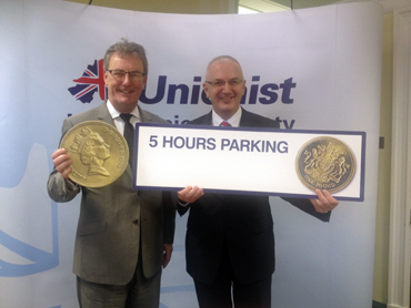 UUP leader and Strangford MLA Mike Nesbitt with DRD Minister Danny Kennedy promoting five for a pound.
