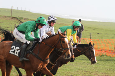Long House Hall (winner), Captain Carleton and Eye of Horus neck in neck in the final charge up the home straight at the Tyrella P2P in the B section of the Albert Bartlett Maiden Race for 5-6 year olds geldings.