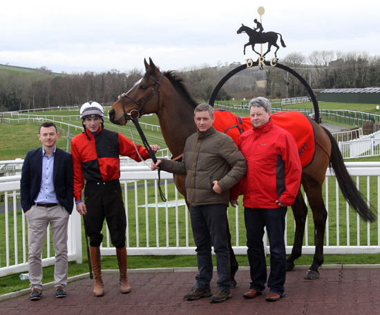 L-R   Tom O'Dwyer – Toals Manager Downpatrick Shop & Racecourse outlet, Downpatrick rider, Declan Lavery and local trainer, Brian Hamilton and Downpatrick Director – Peter Magill pictured at the launch of the Toals Bookmakers Ulster National