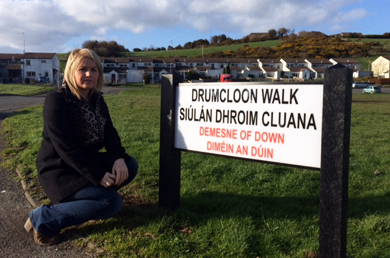 Downpatrick election candidate Naomi Bailie at Drumcloon Walk in Downpatrick.