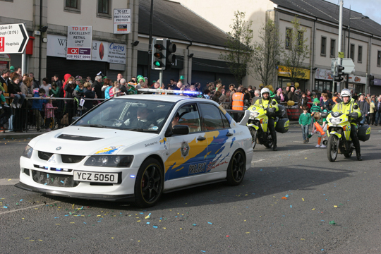 The PSNI Traffic Branch entered their Project Evolution high tech car in the St Patrick's Parade in Downpatrick