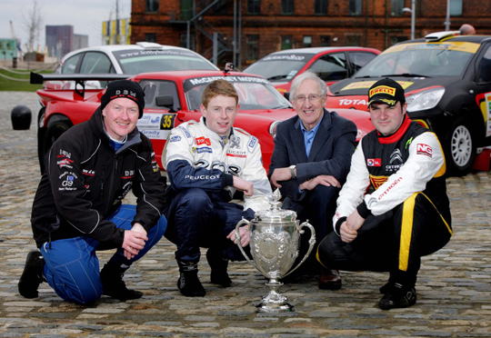 Northern Ireland- 27th March 2014 Mandatory Credit - Picture - Matt Mackey/Presseye.com *************NO PICTURE FEE***************** Rally drivers Ashley Dickson, Stephen Wright, Dessie McCartney and Daniel McKenna at the launch of the 2014 Circuit of Ireland Rally which will take place from Thursday 17 April to Saturday 19 April across counties Antrim and Down.
