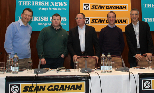 The panel L-R  Richard Holies – Racing UK TV, trainer, Gordon Elliott, Brian Graham, Aintree Grand National winning jockey, Robbie Power and Gary O'Brien At The Races TV.