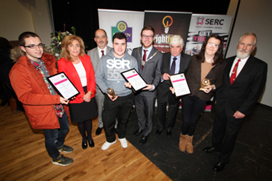 Cllr Dermot Curran and Down District Council Vice Chair Cllr Gareth Sharvin present SERC student winners Dylan Kelly(Higher Education Award Runner-up) , Philip Digney (Higher Education Award Winner) and Naomi Haugh (Training for Success Award Winner) with their certificates. Also pictured is Geraldine Boden, Richard Armstrong (SERC) and Paul Kavanagh (Bright Idea Programme)