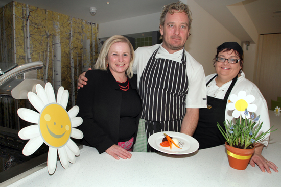 NICFC short break centre deputy manager Joan Burden, the Boathouse's Joery Castel and cook Martell Kennedy at the Daisy Lodge staff celebration day.