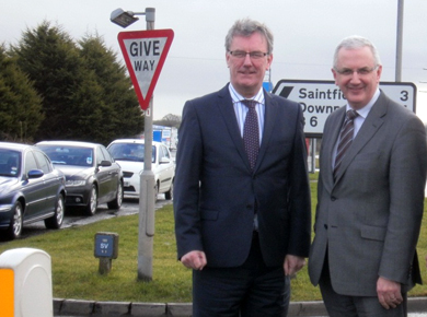Strangford UUP MLA Mike Nesbitt and DRD Minister Danny Kennedy at the Temple roundabout.
