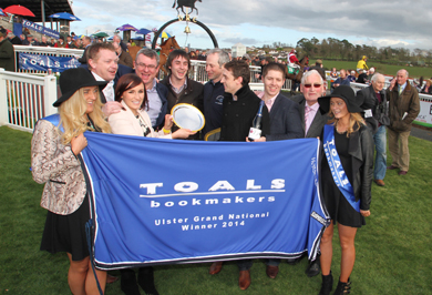 The Toals Ulster Grand National silver plate was presented to HIDDEN HORIZONS winner SB Crawford by Laura Toal following a stewards' inquiry