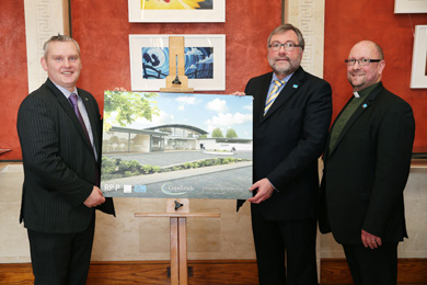 Pictured with NI21 MLA for South Down John McCallister is Brian Burns, Director BCM and Rev Richard Johnston, BCM Superintendent.