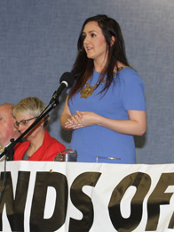 Councillor Maria McCarthy, Chairman of Down District Council, speaking at a recent health meeting in Ballynahinch.