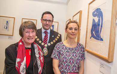 Pictured at the opening of 'Matisse: Drawing with Scissors are (L-R): Betty Brown, artist, Mayor of Ards, Councillor Stephen McIlveen, and Arts Officer with Ards Borough Council, Emily Crawford.