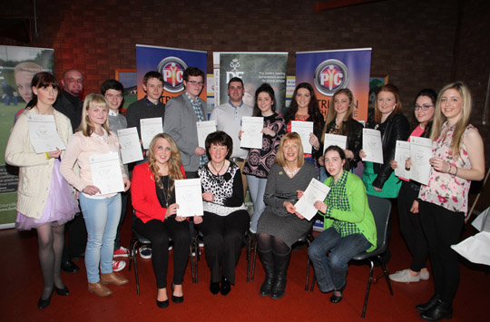 The Patrician Youth Centre Duke of Edinburgh silver award winners with Andrew Kelly, Activity Youth Worker, Yvonne McKnight, Senior Youth Worker, and Kate Thompson, Director of NI Duke of Edinburgh.