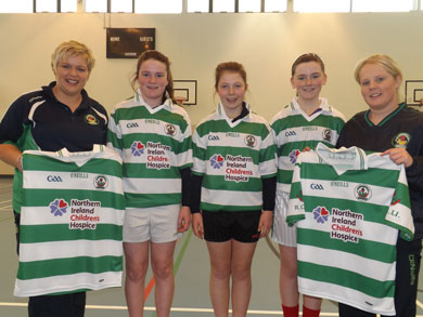 The U12 Girls in RGU Downpatrick decided to go with the Children's Hospice logo in lieu of a sponsor's logo for their new jerseys. We hope that this helps to raise awareness and advertise this wonderful charity. Pictured are managers Edel Curran and Jenny Fitzsimmons along with U12 players Ciara Hanna, Eilis Murphy & Cliona Sharvin.