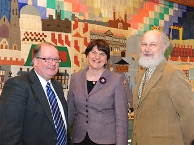 Enterprise Minister Arlene Foster, centre, at the