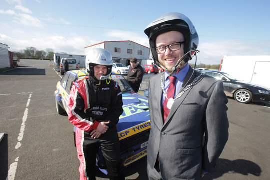 Councillor Gareth Sharvin test drives at Nutts Corner.