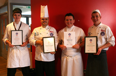 Award winning Professional Cookery students Reuben Davis, tutor Michael Gillies (standing in for Nathan Cox), David Magee and Christopher Fitzsimons from SERC's Downpatrick Campus who recently impressed judges at the prestigious hospitality trade show, IFEX Chef Skills 2014.