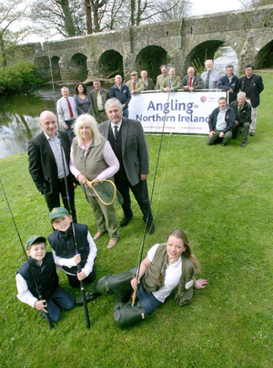 Albert and Irene Titterington, Directors of Downpatrick-based Great Game Fairs of Ireland are pictured amongst representatives from DCAL's Inland Fisheries Group and a range of angling and country sports organizations at the launch the new Angling show that will take place alongside the Irish Game Fair at Shane's Castle.