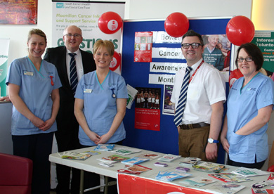 L/R:  Sarah Christie (Colorectal Nurse Specialist), Mr Jeffrey Campbell (Consultant Colorectal Surgeon), Fiona Morris (Bowel Screening Nurse Specialist), Mr Bill Campbell (Specialist Registrar), Martina Finn (Colorectal Nurse Specialist)