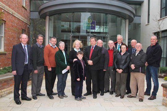 Cllr Cadogan Enright with supporters outside the Down District Council offices.