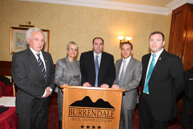 At the Burrendale Hotel health meeting were South Down MLA Sean Rogers, Margaret Ritchie MP,  Eamonn McGrady, Chairman of the Down Community Health Committee, Harry Harmon, medical recruitment specialist, and Chris Hazzard, South Down MLA,