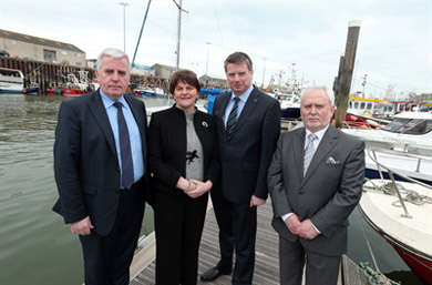 Pictured (L-R): Jeoff Hooks, Chairman, Kilkeel Strategic Partnership; Enterprise Minister Arlene Foster; Alan McCulla CBE, Chief Executive, Sea-Source and Victor Aiken MBE, Chairman, Kilkeel Development Association.