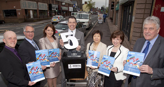 Ross Brown (GreenS), Alex Attwood (SDLP), Tina McKenzie (NI21) Glyn Roberts (NIIRTA CEO), Anna Lo (Alliance), Diane Dodds (DUP) and Jim Nicholson (UUP) launching the NIIRTA 5 Point Plan for Europe in Ballyhackamore