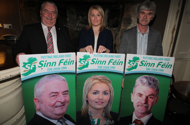 Sinn FŽin local election candidates Eddie Hughes, Naomi Bailie and Eamonn Mac Con Midhe.