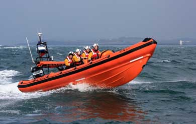 The Portaferry RNLI  Blue Peter rescue boat in action.