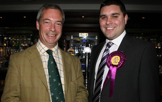 UKIP Down District representative Alan Lewis with party leader Nigel Farage in Belfast's Europa Hotel. Picture Matt Bohill.