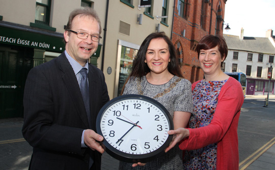 The clock is ticking: Giving a final call for arts grants are Mike King, Curator of Down County Museum, Down District Council Chairman Cllr Maria McCarthy, and Down Council Arts Officer Rachel Kennedy.