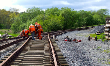 Volunteers finish off work on the North Line which NI Water considered to lay a pipe under.