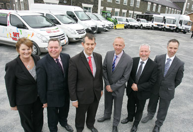 Driving forward: Janice Clarke (Senior Manager, Patient Experience SEHSCT), Colm McKenna (Chairman SEHSCT), Edwin Poots (Health Minister), Richard Walker (Transport Manager, SEHSCT), Eamonn Molloy (Director HR & Corporate Affairs SEHSCT) & Jeff Thompson (Asst. Director Patient Experience SEHSCT)