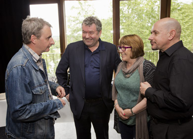 Actor Frankie McCafferty, playwrights Owen McCafferty and Marie Jones, with actor Richard Orr at the launch of Northern Soul, the new season at the Lyric Theatre in Belfast. (Photo by Brian Morrison Photography).