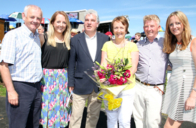 Peter Kelly, Ruth Kelly, Peter Stewart, Chairman of Downpatrick Race Club, Catherine Kelly who is retiring from the racecourse after eleven years, with course manager Richard Lyttle and Sarah Kelly.