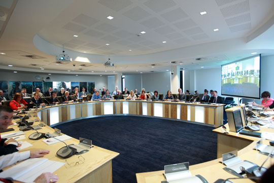The Mourne Room at the Downshire Civic Centre was the setting for the first meeting of the new Newry, Mourne and Down Council.