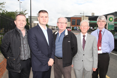 At the meeting to discuss recent flooding in Downpatriock were Hugh Morgan, DRD Roads Service, Cllr Colin McGrath, Noel Trainor, Downpatrick businessman, Cllr John Doris and Gerry McBride, Down District Council Senior Officer.