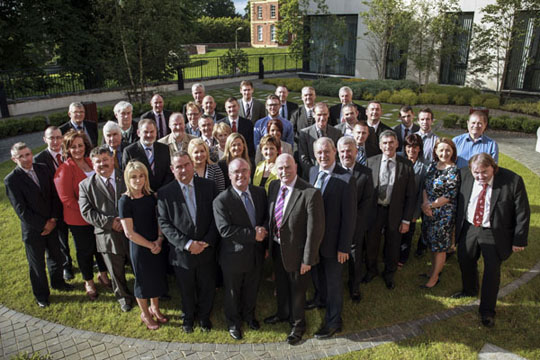 The 41 councillors on the Newry, Mourne and Down Council pictured at their first meeting at the Downshire Civic Centre in Downpatrick.