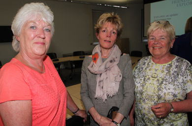 Friends of Exploris Ltd members Allison Murphy, Lady Eleanor Brown and Maureen McCarthy pictured just before the presentation at Down District Council to the Economic Development Committee.