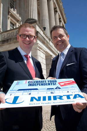 Finance Minister Simon Hamilton with NIIRTA CEO Glyn Roberts launch Independents Day at Stormont.