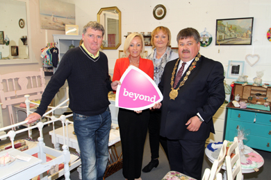 Colm Magee of Go Again, quality used house items, with Andrea Boyd, Down Business Centre receptionist, and Janice Symington, Down Business Centre general manager withDown District Council Chairman Councillor Billy Walker pictured during the launch of the Beyond programme.